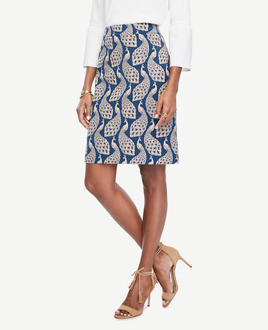 Image of Peacock Jacquard Skirt