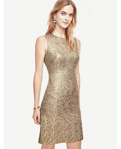 Image of Petite Shimmer Jacquard Flare Dress
