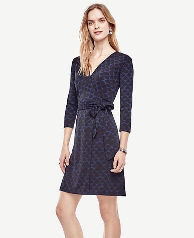 Image of Scalloped 3/4 Sleeve Wrap Dress