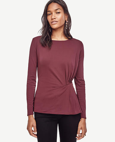 Image of Petite Crepe Side Pleat Top