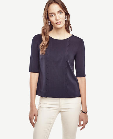 Image of Petite Scalloped Top