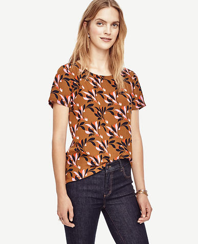 Image of Swirling Floral Silk Tee