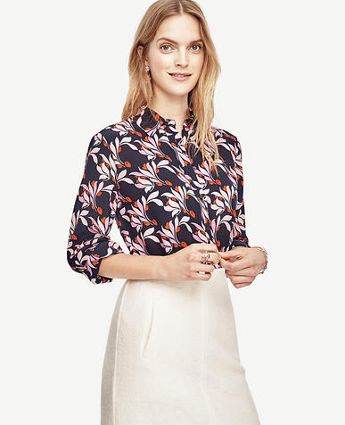 Image of Swirling Floral Silk Blouse