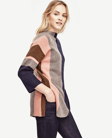 Image of Colorblock Oversize Tunic Sweater