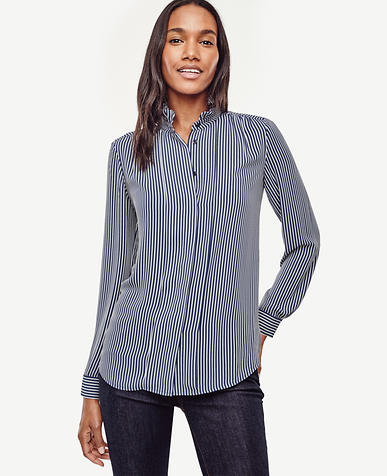 Image of Striped Ruffle Neck Blouse