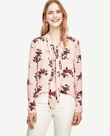 Image of Jungle Cat Tie Neck Ruffle Blouse