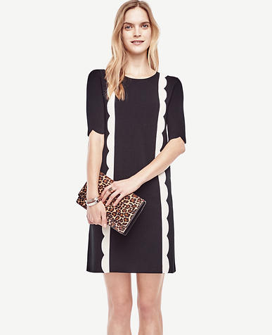 Image of Scalloped Sweater Dress