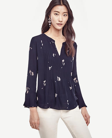 Image of Floral Pintucked Flounce Blouse
