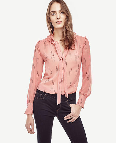 Image of Leafy Ruffle Collar Blouse