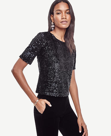 Image of Petite Short Sleeve Sequin Tee