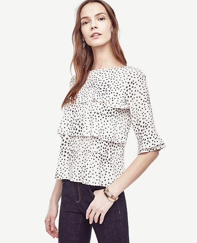 Image of Brush Dot Tiered Ruffle Top