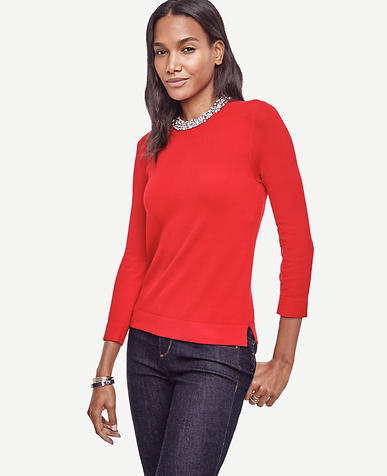 Image of Petite Crystal Collar Sweater