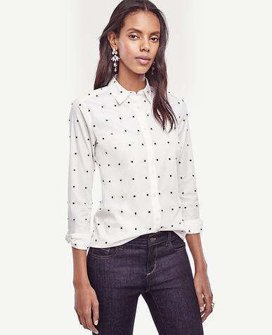 Image of Embroidered Dot Perfect Shirt
