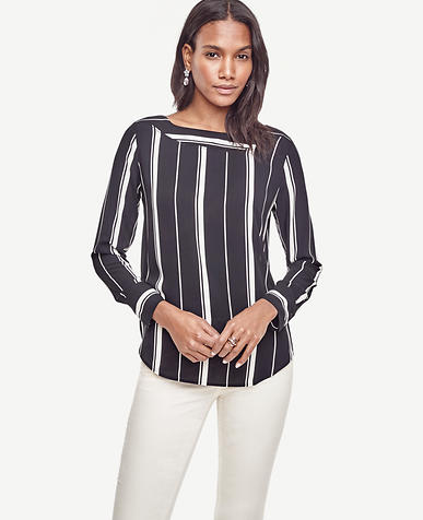 Image of Petite Stripe Perforated Boatneck Top