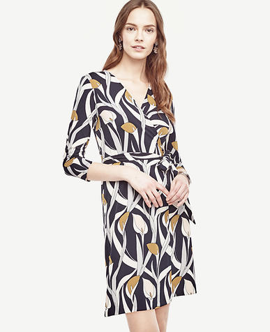 Image of Calla Lily 3/4 Sleeve Wrap Dress