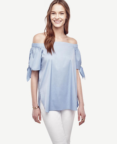 Image of Poplin Off The Shoulder Blouse