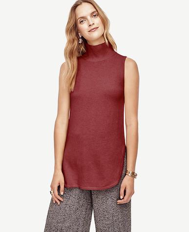 Image of Petite Wool Cashmere Sleeveless Turtleneck Tunic Sweater