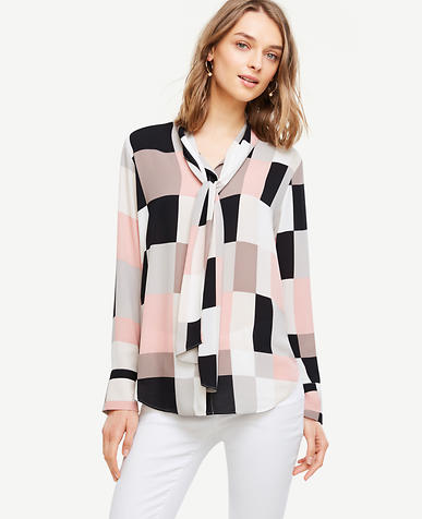 Image of Colorblock Tie Neck Blouse