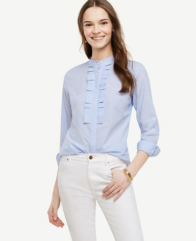 Image of Striped Ruffle Pleat Poplin Blouse