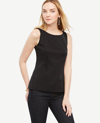 Image of Cotton Sateen Sleeveless Top
