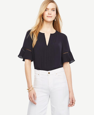 Image of Pintucked Flutter Sleeve Top