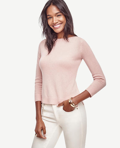 Image of Petite Wool Cashmere Boatneck Sweater
