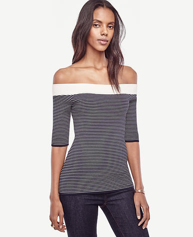 Image of Striped Off The Shoulder Sweater