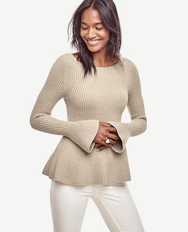 Image of Petite Bell Sleeve Peplum Sweater