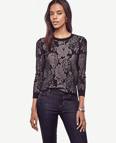 Image of Petite Floral Lace Sweater