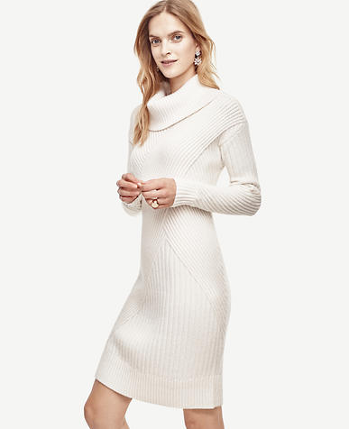 Image of Petite Ribbed Cowl Neck Sweater Dress