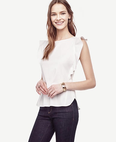 Image of Poplin Flutter Top