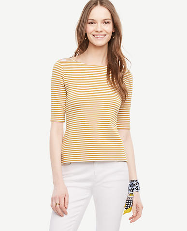 Image of Striped Doubleface Boatneck Tee