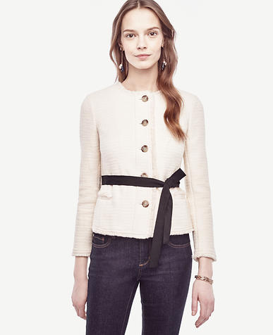 Image of Petite Belted Fringe Tweed Jacket