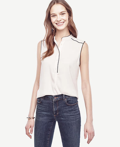 Image of Piped Sleeveless Blouse