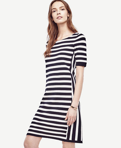 Image of Petite Striped Bow Back Sweater Dress