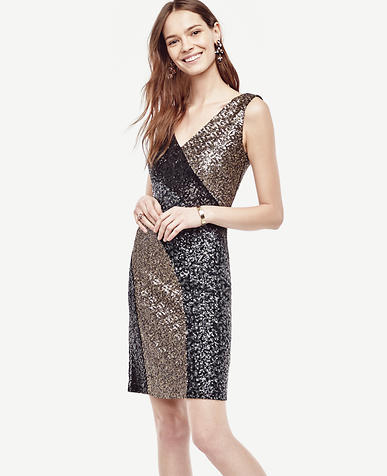 Image of Colorblocked Sequin Sheath Dress