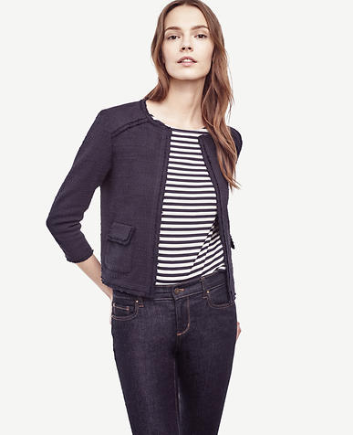 Image of Fringe Tweed Open Jacket