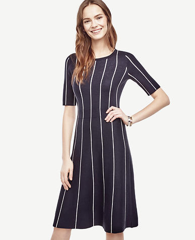 Image of Petite Pinstripe Flare Sweater Dress