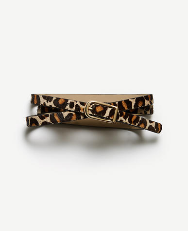 Image of Leopard Print Haircalf Skinny Belt