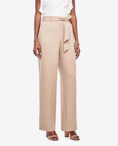 Image of Petite Belted High Waist Wide Leg Pants