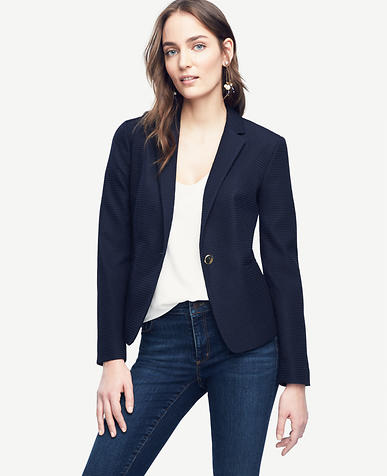 Image of Petite Jacquard Single Button Blazer