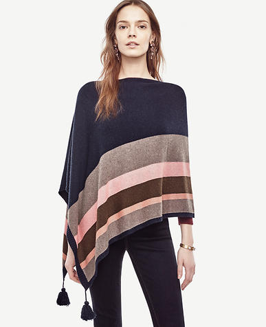 Image of Striped Tassel Poncho