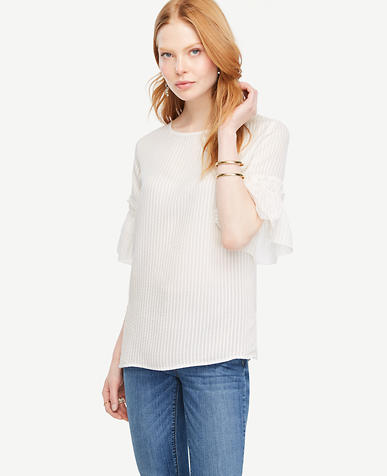 Image of Striped Ruffle Cuff Blouse