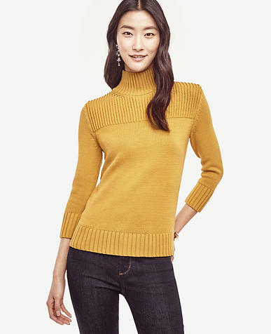 Image of Petite Ribbed Trim Sweater