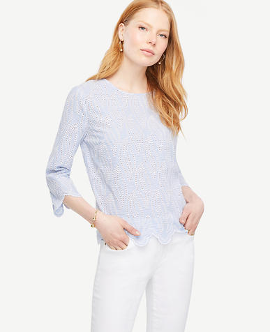 Image of Scalloped Eyelet Top