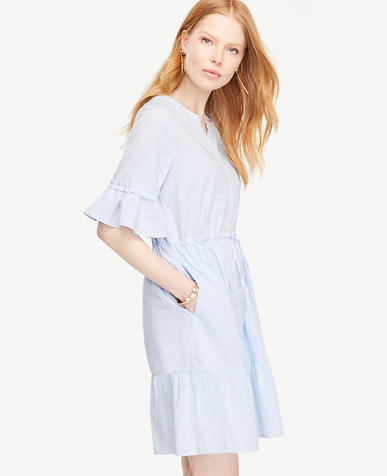 Image of Striped Fluted Sleeve Poplin Shirt Dress