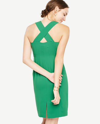 Image of Sleeveless Cross Back Sheath Dress