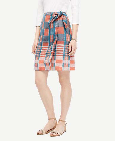 Image of Plaid Tie-Waist Skirt