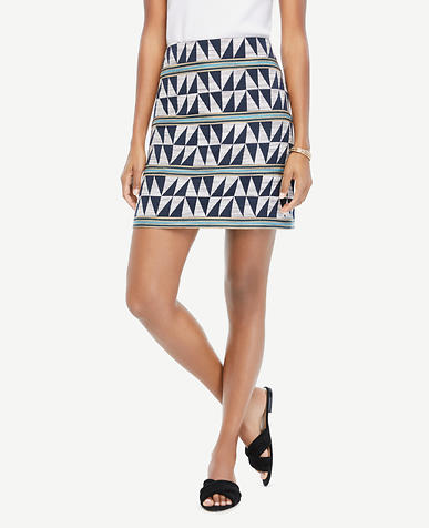 Image of Triangle Stripe Jacquard Skirt