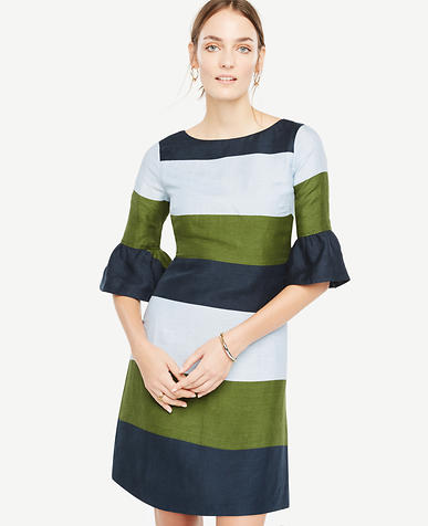 Image of Fluted Sleeve Striped Shift Dress